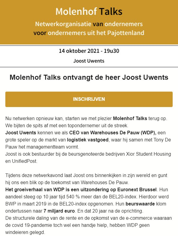 Joost Uwents - Molenhof talks